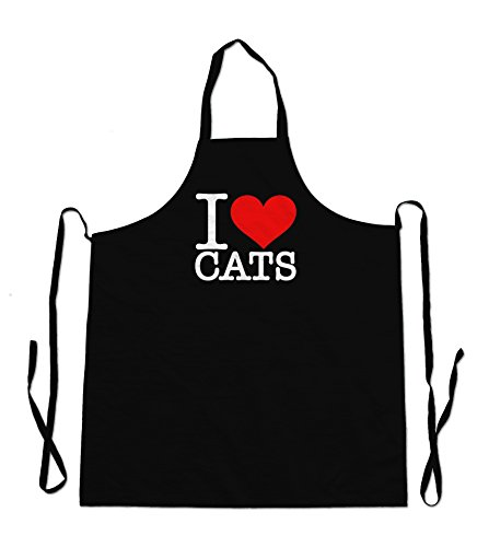 I Love Cats grembiule nero - Black Cat Bbq Grembiule
