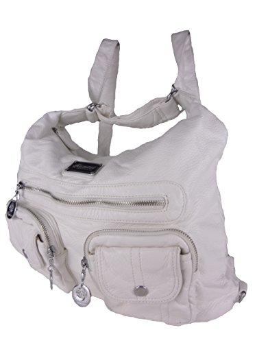 JODY 89297, 2in1 Damen Rucksackhandtasche, Handtasche und Rucksack, 37x28x15cm (weiß)