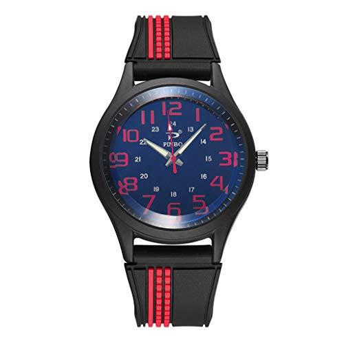 Deloito Herren Mode Uhr Weich Silikon Gummi Gurt Runden Sport Uhren Doppelkreis Graviert Simulierte Quarzuhr (E)