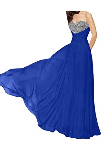 Ivydressing Damen Fashion Herzform A-Linie Promkleid Chiffon Lang Festkleid Abendkleider Royalblau