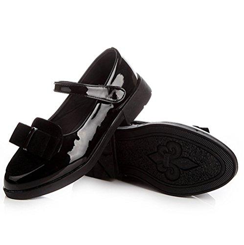 Scothen Chaussures princesse paragraphe Costume paillettes boucle ballerine Chaussures Carnaval de fête pour les enfants chaussures de ballerine fête chaussures fille boucle Christening partie Noir