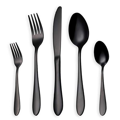 HOMQUEN Glänzend Schwarzes Besteck/Besteck Set, 30 Stück Edelstahl Messer Gabel Löffel Set für 6 Personen (schwarz, 6 Sets) -