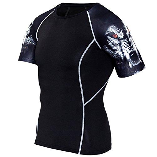 SEVENWELL Herren Athletisch Gym Slim Fit Sport Strumpfhosen Workout Lauftraining Shirts Kurzarm Kompression Shirts Wolf XXXL(Tag,Asia)=US L