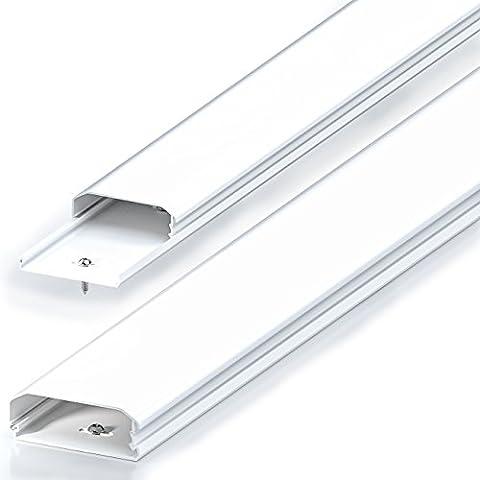 deleyCON Universal Kabelkanal Leitungskanal einfaches Verlegen von Kabeln und Leitungen hochwertiges PVC Länge 50cm , Breite 6cm , Höhe 2cm - (Kabelkanal Für Tv)