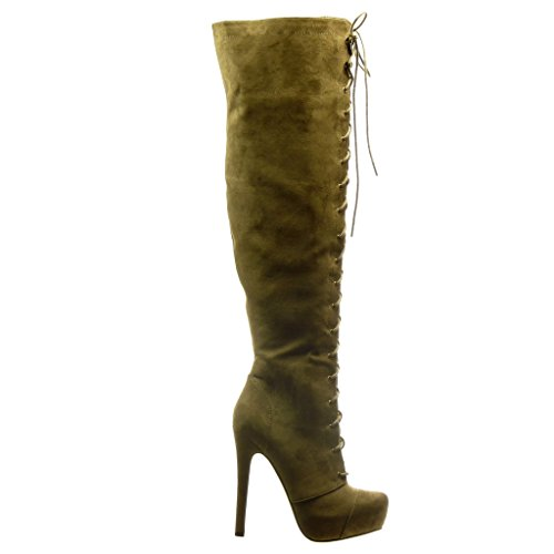 Angkorly - Scarpe Moda Stivali - Scarponi Stivali Alti stiletto sexy donna merletto Tacco Stiletto alto 13.5 CM Khaki