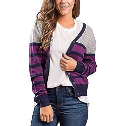 Aleumdr Mujer Sweatshirt Plus Size Chaqueta de Punto Casual Suéter de Rayas para Mujer Púrpura Size XL