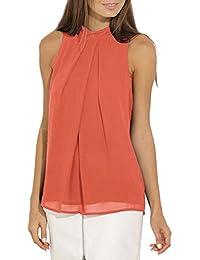OMZIN Camisa de Mujer Casual Blusas de Gasa sin Mangas Chaleco de Verano Tops para Mujeres