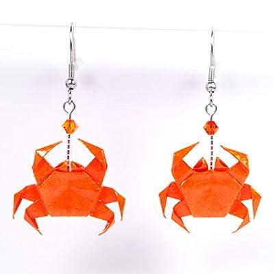 Boucles d'oreilles crabes origami oranges - crochets inox
