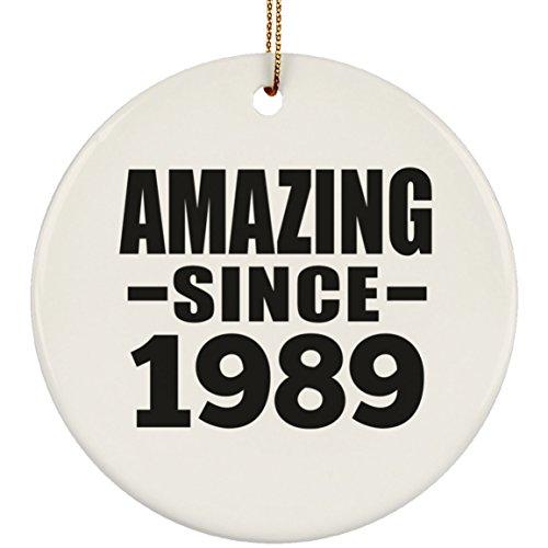 Designsify 30th Birthday Amazing Since 1989 - Circle Ornament Kreis Weihnachtsbaumschmuck aus Keramik Weihnachten - Geschenk zum Geburtstag Jahrestag Muttertag Vatertag Ostern