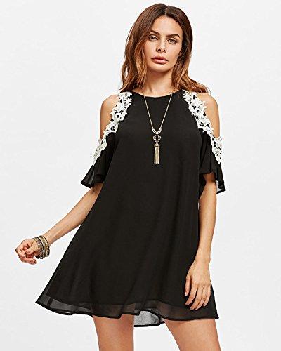 Aofur Women's Summer Cold Shoulder Tunic Top Dresses Loose Chiffon Casual Short Sleeve Swing T Shirt Dress (14 16, Black)