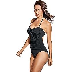 Dobreva Donna Costume da Bagno a Fascia Allacciatura al Collo Nero IT 52 (EU 46)