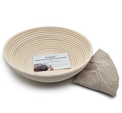 Dgtech 12 Zentimeter Runde banneton brotform Brot Beim Korb natürlichen Rattan zuckerrohr Handgefertigte & leinen Liner Gewebe (Bäcker Korb)