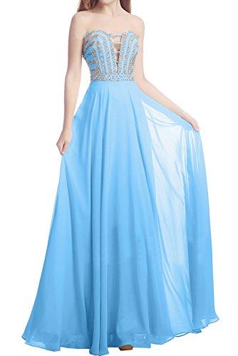 Sunvary Damen Traegerlos Chiffon Champagner Paillette Perlen Abendmode Abendkleider Lang Ballkleider Promkleider Blau