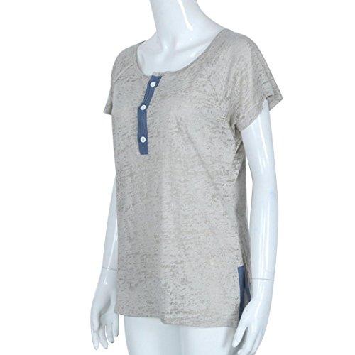 Ouneed® Femme Demi -Transparent Boutons T- shirt manches courts Gris