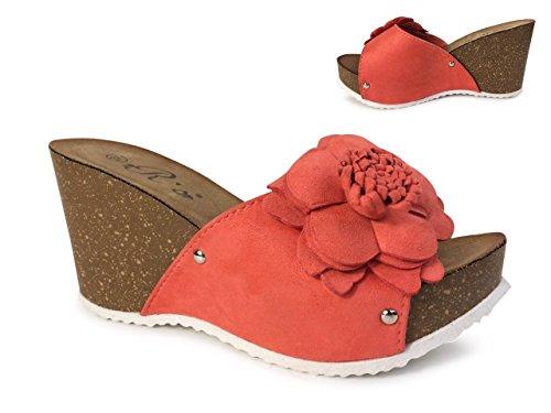 Damen Sandalen Pantoletten Keilabsatz Blumen Sandaletten Wedge Plateau ST555 Coral