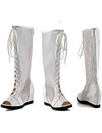 NVLXIE Zapatos de Señora Alto Barril Net Botas Cool Botas Aumento Interno Volver Zipper Pescado Boca Sandalias...
