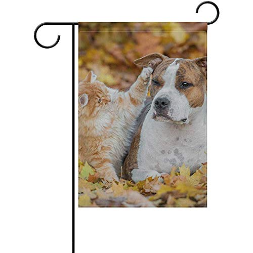 Mesllings Cat and Dog in Autumn Leaves Background Garden Flagge Yard Banner Polyester for Home Flower Pot Outdoor Decor 12