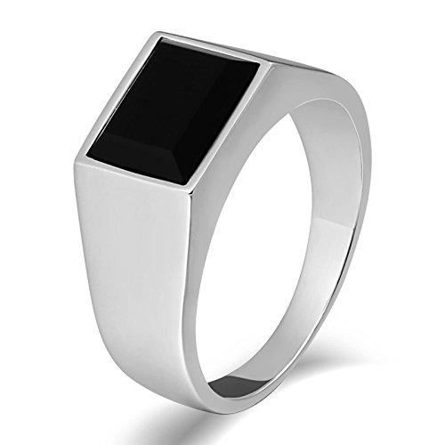 SonMo Stainless Steel Herren Ringe Siegelring Herren Silber Schwarzer Stein Siegelring Edelstein Silber Signet Ring Band Ring Daumenring für Mann