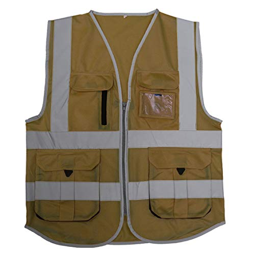 HSNMEY Unisex Warnweste EN 20471 Sicherheitsweste Hi-Vis mit Taschen Reflektorstreifen für Radsport, Khaki L - Hi Khaki