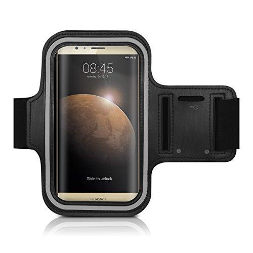 Galleria fotografica kwmobile fascia da braccio sportiva per Huawei G8 / GX8 - jogging corsa borsa da sport fascia fitness con scomparto per chiavi nella fascia da braccio in nero