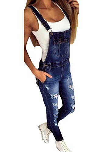 Zamtapary Mono para Mujer Delgado Casual Jeans De Mezclilla Romper Dungarees con Bolsillo Babero Azul L