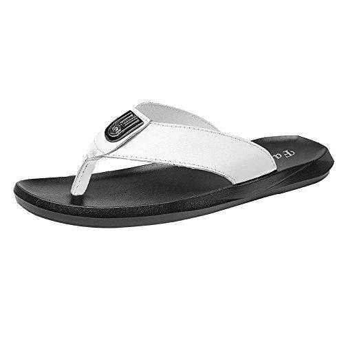 Sunny&Baby Männer Casual Thong Flip Flops Schuhe PU-Leder Strand Hausschuhe rutschfeste weiche flache Sandalen Abriebfeste (Color : Weiß, Größe : 40 EU)