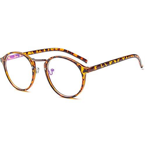 forepin Nerdbrille Retro Rund Unisex Dekogläser Klassisches Mode Damen/Herren Brillen - Leopard (Leoparden-brille)
