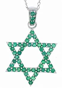 1.02Ct Genuine Emerald Star Of David Pendant in 14Kt White Gold w/chain