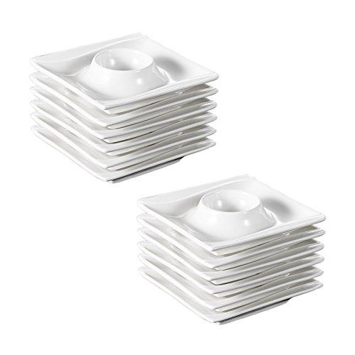 MALACASA, Serie Carina, 12 teilig Cremeweiß Porzellan Eierständer Set je 4 Zoll / 10,5 * 10,5 * 2,5cm Eierbecher Eierhalter preisvergleich