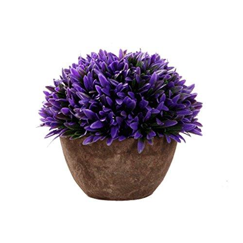 LAMEIDA Topfpflanzen Bonsai Dekoration Landschaft Simulation Kunststoff Pflanzen Blumen Wohnzimmer Ornamente Hochzeit Haus (Lila)