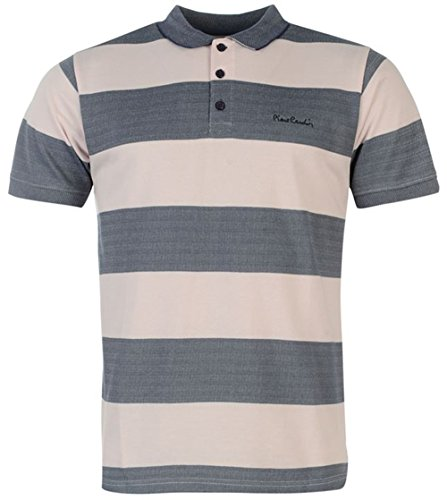 Mens Designer Pierre Cardin Casual a Maniche Corte A Righe Polo Charcoal/Pink medium