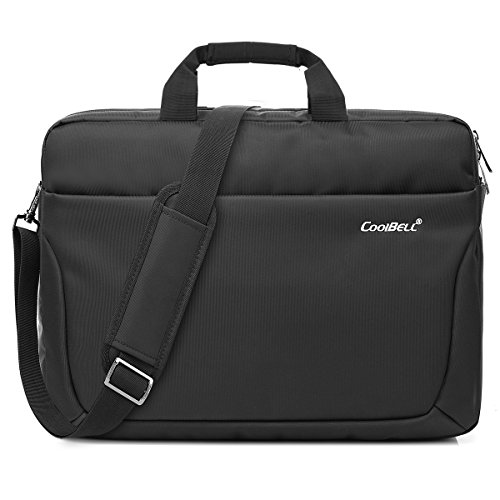 CoolBELL 17,3 Zoll Laptop Tasche Multi-Fach Messenger Bag Business Aktentasche Wasserdicht Nylon Computer Umhängetasche für Laptop / Ultrabook / Macbook / Asus / Lenovo / Männer / Frauen (Schwarz)