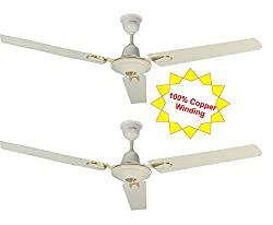 Candes i-Flurry 1200mm Ceiling Fan 48 Inch Ivory Pack of 2 (100% Copper Winding with 2 Year warranty 5 Star Rating)