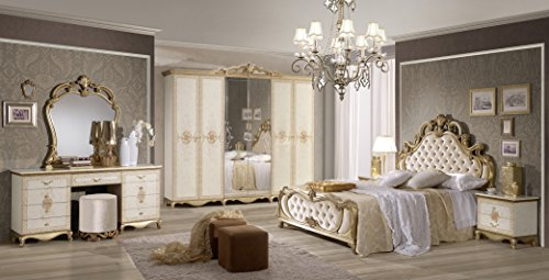 SHIRIN Schlafzimmer Kombination Barock Design Bett 160x200 cm Schrank 6-türig
