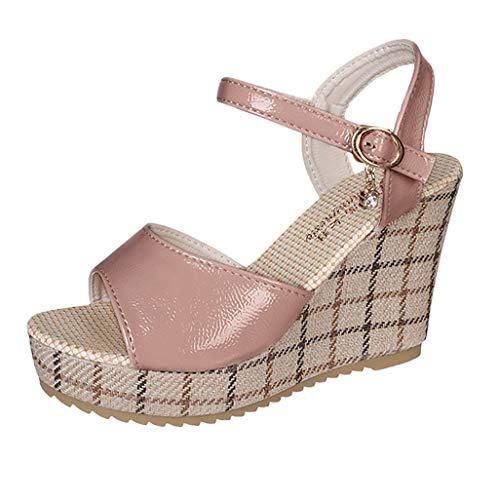 koperras Women Casual Wedge Sandals Thick-Soled Sponge Platform Buckle High-Heeled Pu Shoes Cork Wrap Wedge
