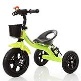 Triciclo de Tobillo para niños, Bicicleta Infantil, Adecuado para niños y niñas de 3-6 años, Verde