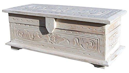 Balibarang Massiv Holz Truhe weiß Spielzeugtruhe Handarbeit Schatztruhe 33S