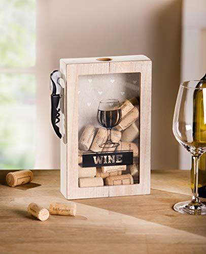 Dekoleidenschaft Korkensammler Wine aus Holz mit Kellnermesser