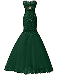 Sunvary Elegant Neu Herzform Meerjungfrau Spitze Satin Tuell Lang Steine  Abendkleid… 680bdffe8d