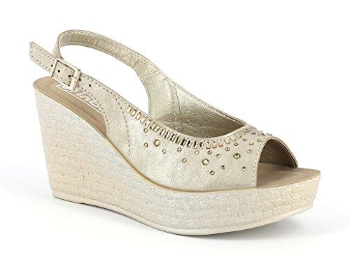 Femmes Dames Diamante clouté Slingback Peeptoe Confort Casual Talon compensé Sandals Chaussures Taille Or