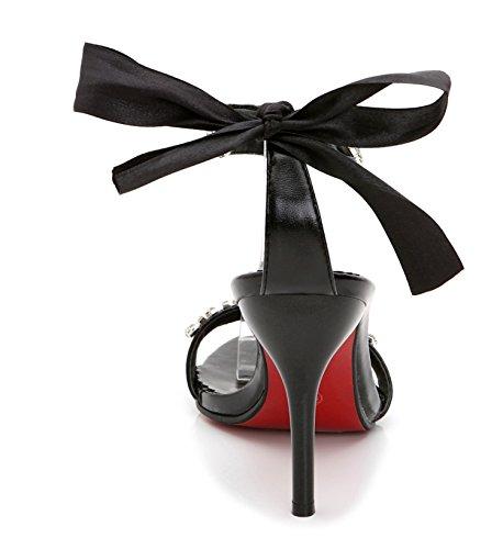 Heels SEXYHER Fashion 2.8in Bureau de la dentelle de la femme jusqu'¨¤ Sandales Chaussures Noir