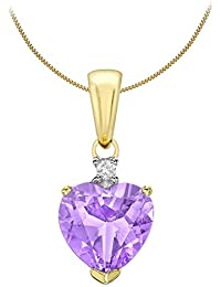 Carissima Gold 9ct Yellow Gold Diamond and Amethyst Heart Angel Pendant on Curb Chain Necklace of 46cm/18