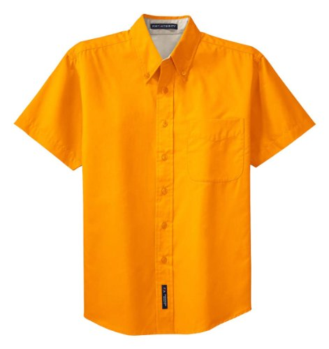 Port Authority Men 's Short Sleeve Easy Care Shirt Gr. Large, Gold - Athletic Gold/Light Stone - Easy Care L/s Shirt