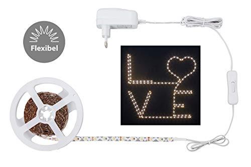 Briloner Leuchten Band 3m, LED Streifen flexibel formbar für die Gestaltung von Schriftzügen und Motiven, 12W, 1.000 Lumen, Kunststoff, 15 W, Weiß, 3 m