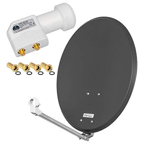 HD Digital SAT Anlage 60cm ALU Spiegel Schüssel Anthrazit + Twin LNB 2 Teilnehmer zum Empfang von DVB-S/S2 Full HD 3D 4K Ultra HD (UHD) Signale + Stecker Gratis dazu im Set