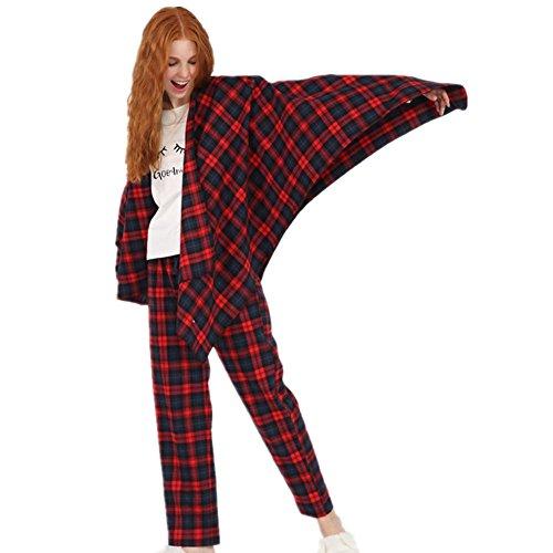DMMSS Delle ragazze delle donne 'caldo d'inverno carino casa morbido del fumetto flanella a quadri 3-pigiama pezzo set , figure color , m