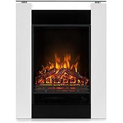 Klarstein Studio 5 • Cheminée électrique • Radiateur soufflant • Flammes Simulation • 5 Niveaux de luminosité et 2 Niveaux de Chauffage • Télécommande • Puissance: 900 ou 1800W • Silencieux • Blanc