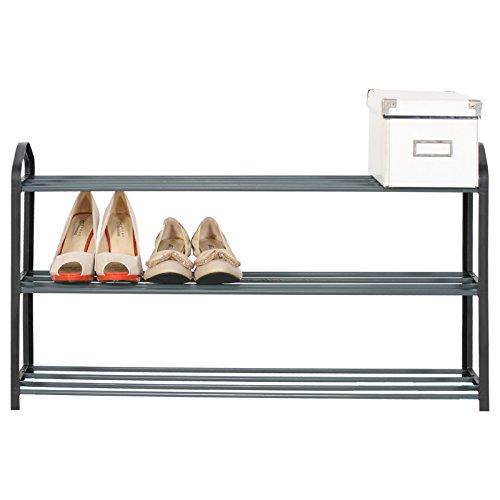 WOLTU Schuhregal Schuh Ständer Regale , XXL Schuständer 3 Schicht , Schuhablage für 12 Paare Schuhe , 79x19.5x45cm , Schwarz , SR0020sz3-1