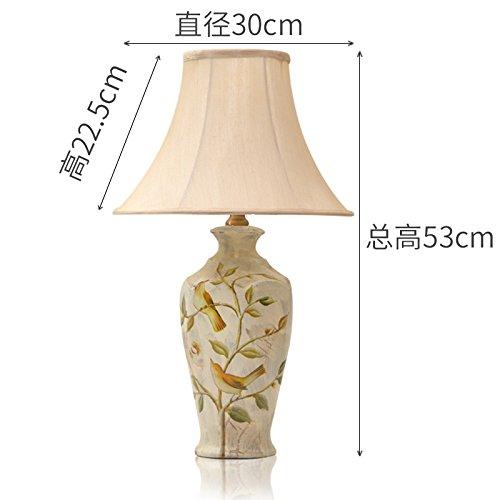Keramik Blume retro alte Lampe am Bett Schlafzimmer Wohnzimmer bemalten Tuch, Licht Keramik Tischleuchte wie in der Abbildung dargestellt, Schalter des Helligkeitsreglers