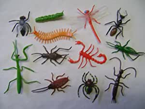 12 Jouet Insecte Effrayant Grouillant + Araignée Volante Neuf
